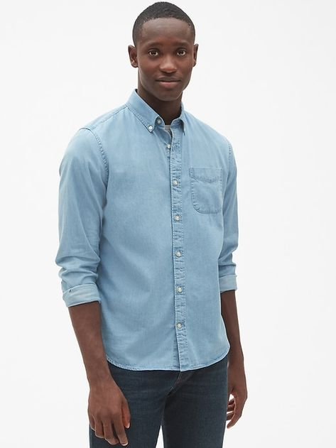 40230f4e13f4b8 Gap Mens Standard Fit Denim Shirt Light Indigo