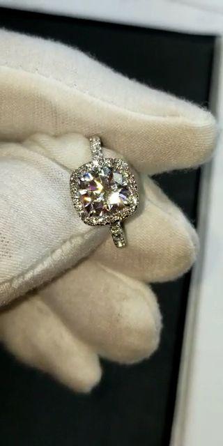 2 Carat Cushion Moissanite & Diamond Halo Engagement Ring