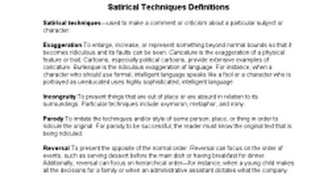 Satire And Satirical Devices Satirical Techniques Definitions