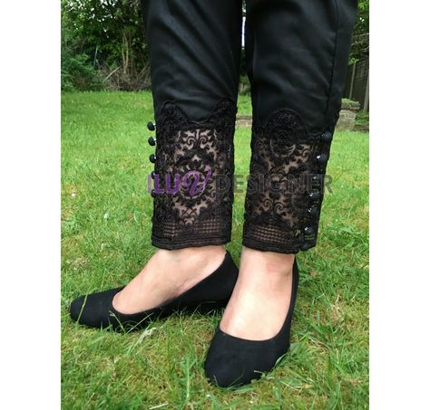 Pakistani Designer Dresses - Lowest Prices - Pakistani embroidered lace straight pant - 100% Original & Ready to Wear