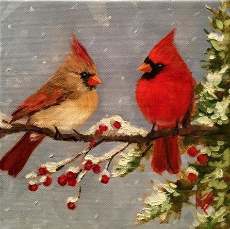 "Daily Paintworks - ""I really cant stay."" - Original Fine Art for Sale - © Krista Eaton Pretty Birds, Beautiful Birds, Christmas Bird, Painted Gourds, Cardinal Birds, Watercolor Bird, Vintage Birds, Christmas Paintings, Little Birds"