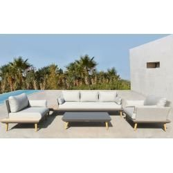 Outflexx James Lounge Set Light Gray Natural Alu Polywood Incl Upholstery 5 Outdoor Furniture Sofa Outdoor Furniture Australia Outdoor Furniture Sets