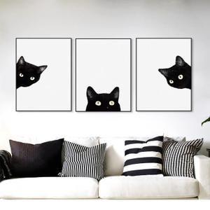 Kawaii Aquarelle Noir Tête De Chat Animal Art Mignon