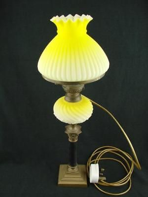 Details About Pretty 19th C Small Oil Lamp Converted To Electric Graduated Yellow Font Shade With Images Lamp Oil Lamps Lamp Shade