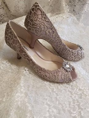 Taupe Lace 2 1 4 Heelivory Or Taupe Wedding Mid Heel Etsy Lace Pumps Wedding Shoes Heels Heels