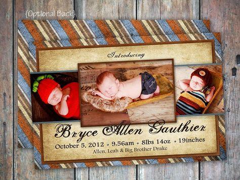 Baby Boy Birth Announcement by FEDigitalCreations on Etsy, $12.00