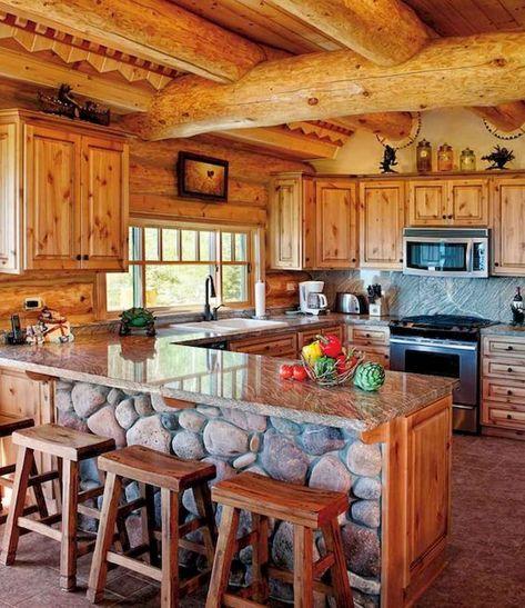 56 Favourite Log Cabin Homes Modern Design Ideas - Home-Garden-Design-Decoration Rustic Cabin Kitchens, Log Home Kitchens, Rustic Cabin Decor, Rustic Kitchen, Kitchen Decor, Lodge Decor, Western Decor, Kitchen Ideas, Small Log Homes
