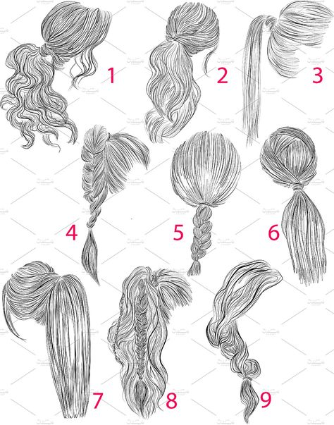 Ponytails vector hairstyles set #plaits#loose#Inspiration#perfect
