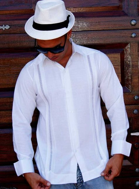 French Cuff  Mechlin Guayabera. Long Sleeve, Linen Blend. - Design for Wedding an Large Events. Perfect for Grooms-men.  Frenh Cuff, LACE and Tucks. Non pockets. Pure white. DO NOT come with cuff links. Dry Clean for best result. A classic an sublimely soft  Linen.. Availability is subject to change Manufacture in Mexico By GuayaberasCubanas. 2-3 weeks, any color, Just call.