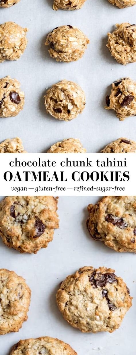 These Chocolate Chunk Tahini Oatmeal Cookies are made healthy ingredients like gluten-free oats and 70% dark chocolate chunks, and are naturally vegan, and refined sugar-free! #vegan #glutenfree #oatmealcookies #chocolatechunkcookies