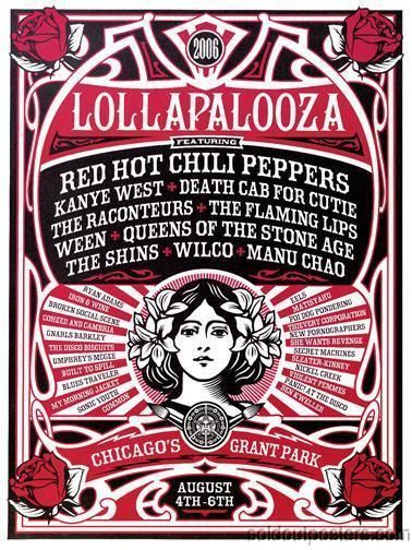 LOLLAPALOOZA - 2006 Shepard Fairey poster Chicago