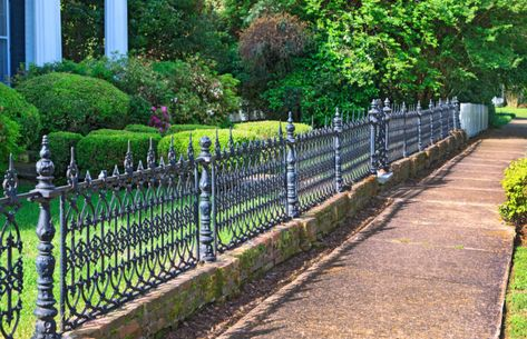 A lovely waist high wrought iron fence, with detailed and attractive panels. If you're interested in selling or buying a Victorian home or looking to sell or buy Vintage plumbing and lighting fixtures or antiques anywhere in the country contact me www.victorianhomes4u.com www.victoriandepot.com