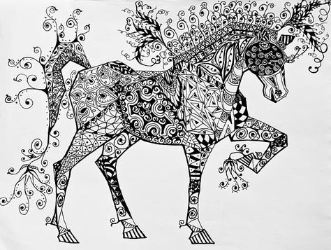Zentangle circus horse by Jani Freimann
