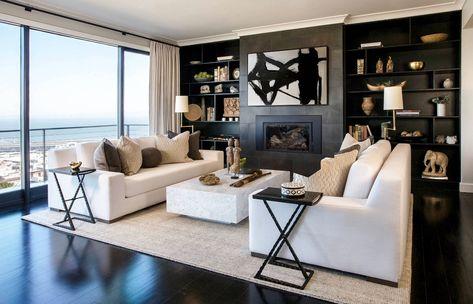 Restoration Hardware Inspired Modern Living Room Decor With Modena White Sofas Living Room Decor Gray Modern Style Living Room Decor Living Room Decor Modern