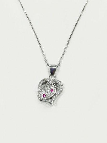 كوليه فضة عيار 925 بدلاية قلب مع كيتي Jewelry Jewelrymaking Love Women Silver Goldjewellery