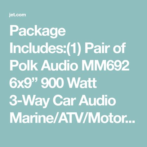 "2 Polk Audio MM692 6x9"" 900w 3-Way Car Audio//Marine Speakers+2-Ch Amp+Wire Kit"