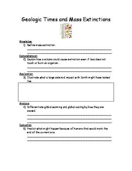 Geologic Times And Mass Extinctions Worksheet Ngss Science