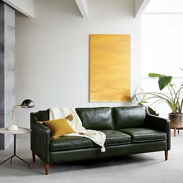 Hamilton Leather Sofa (81u0026quot;) | Green Leather, Leather Sofas And Living  Rooms