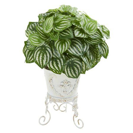 Watermelon Peperomia Artificial Plant In Metal Planter Real Touch Walmart Com Peperomia Plant Peperomia Metal Planters