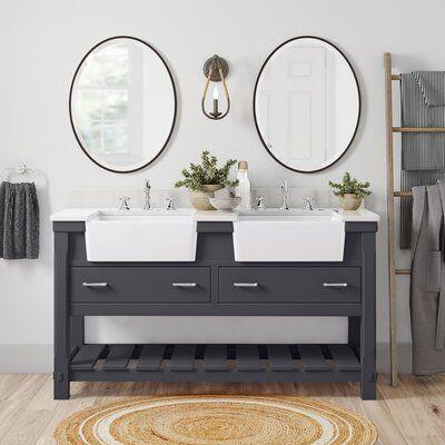 Kira 60 Double Bathroom Vanity Set Base Finish Charcoal Gray Bathroom Vanity Double Bathroom Vanity Modern Bathroom Vanity