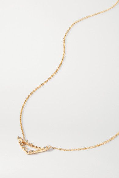 Sarah Sebastian Celestial Capricorn 10 Karat Gold Diamond Necklace Modesens In 2020 Gold Diamond Necklace Tiny Diamond Sarah Sebastian