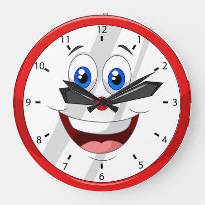 Funny Cartoon Clock Zazzle Com Wall Clock Cartoon Clock Clock Face