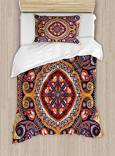 Big Buy Store Paisley Duvet Cover Arabic Style Ornamental Rug Pattern Inspired Design With Flowers And Leaves Deco Paisley Duvet Duvet Cover Sets Bedding Set