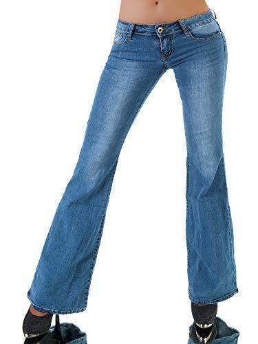 93c2214b3875 P107 Damen Jeans Hose Hüfthose Damenjeans Hüftjeans Bootcut Schlag ...