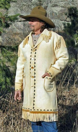 Mens White Western Style Suede Leather Long Coat Handmade Cowboy Fringe Beads