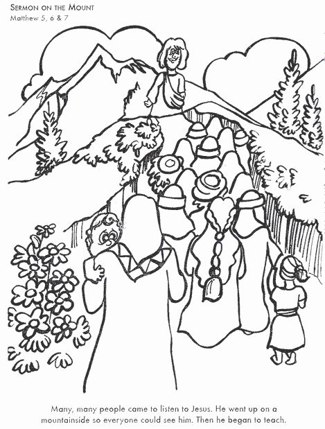 24 Sermon On The Mount Coloring Page In 2020 Bible Coloring