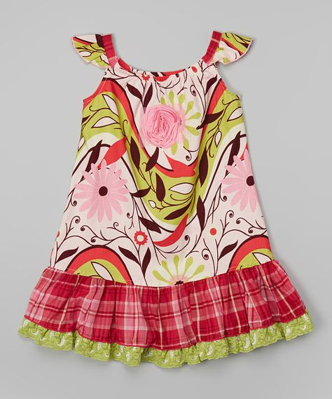 Look at this Pink Floral Angel-Sleeve Dress - Infant, Toddler & Girls on #zulily today!