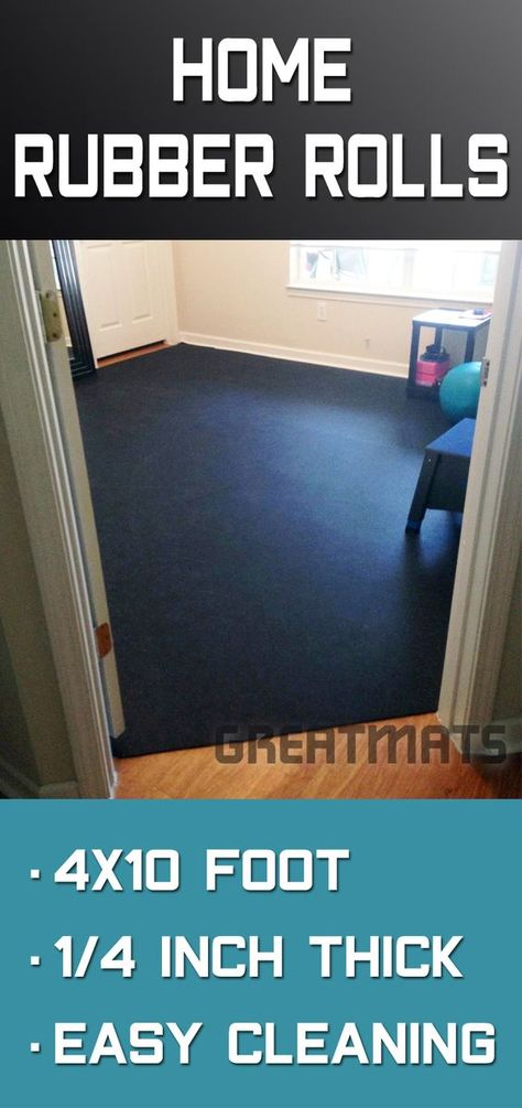 Rubber Flooring Rolls 1 4 Inch 4x10 Ft Black Home Gym Flooring Rubber Flooring At Home Gym