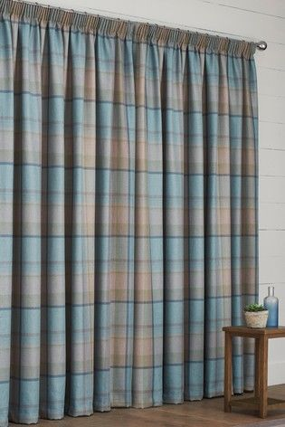 Marlow Woven Check Eyelet Lined Curtains Lined Curtains Curtains Interior