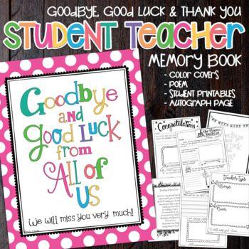 Student Teacher Goodbye Book Thank You Gift Memory Advice Student Teacher Gifts Student Teacher Student