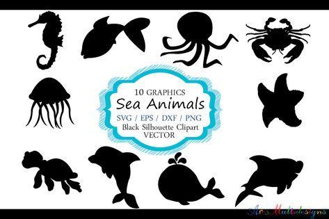 Sea Animals Silhouette Vector Sea Animal Sea Animal Svg File Eps Vector Sea Animals Clipart 46397 Illustrations Design Bundles In 2021 Animal Silhouette Animal Clipart Silhouette Vector