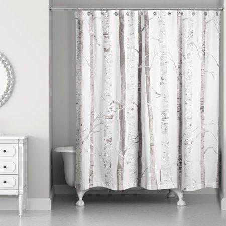 White Birch Trees 71x74 Shower Curtain Tree Shower Curtains