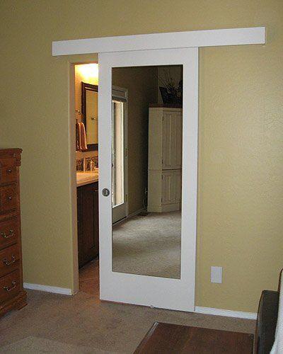 Wall mount door instead of retrofit pocket door! Johnson Hardware Used:  2610F Wall Mount Door Hardware, CLICK HERE FOR PROJECT DETAILS | Pinterest  | Pocket ...