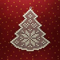 Filet Christmas tree Fsl lace Embroidery design FSL Christmas