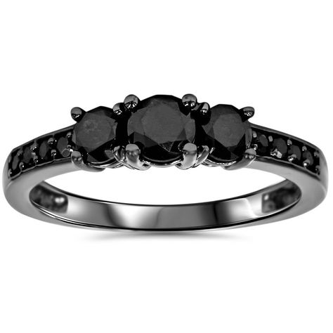 Online Shopping - Bedding, Furniture, Electronics, Jewelry, Clothing & more Black Gold 1 TDW Black Diamond Three Stone Engagement Ring (Size Women's Black Rings, Yellow Gold Rings, White Gold, Black Diamond Jewelry, Black Jewelry, Gold Jewellery, Jewelry Rings, Jewlery, Silver Jewelry