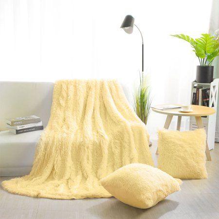 Faux Fur Plush Decorative Throw Blanket With 2 Plush Pillow Covers Light Yellow Walmart Com Yellow Room Decor Yellow Bedroom Decor Yellow Bedding