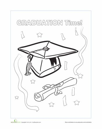 Graduation Cap Coloring Page Coloring Worksheets For
