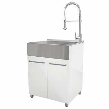 Transform 28 In Laundry Cabinet With Stainless Steel Sink Pull Down Faucet Laundry Cabinets Stainless Steel Sinks Sink