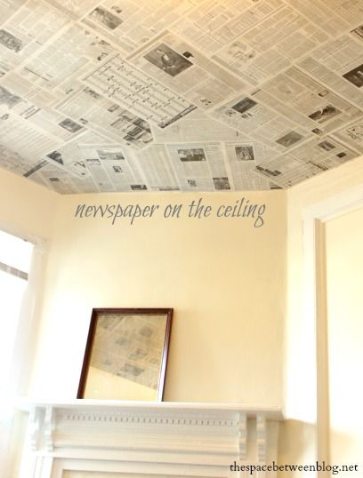 Newspaper As A Creative Wall Covering The Space Between Diy Recycled Projects Ceiling