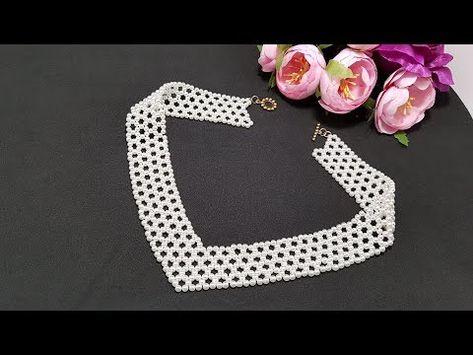 КОЛЬЕ из жемчужных бусин/Ожерелье из бусин/Колье своими руками - YouTube