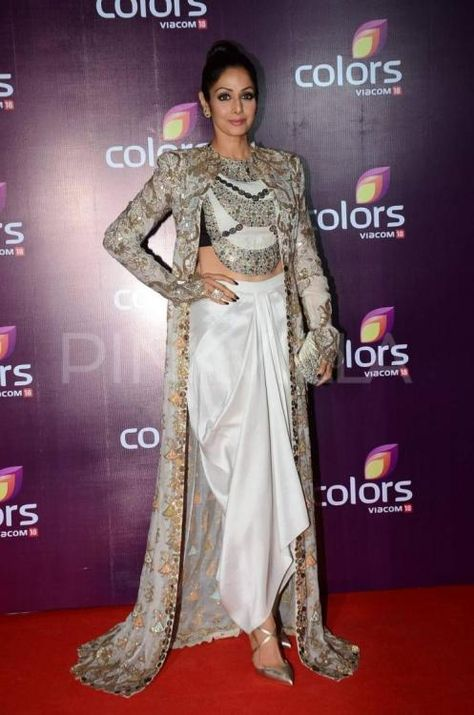 Sridevi at Colors TV Annual Party : Sri pulled off this Anamika Khanna piece with an utter perfection. Completing her outfit with silver heels and a matching clutch, she looked amazing. Her hairdo and makeup is great. A true fashionista!