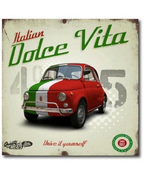 Tableau la voiture italienne : voiture ancienne fait 500 pour une décoration d'intérieur vintage - Defacto