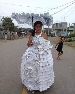 Wedding Dress made from recycled styrofoam cups, and plastic spoons, knives, and forks.