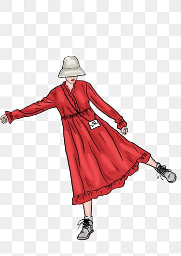 Hipster Girl In Long Skirt In Winter Winter Fashionable Fashion Hand Painted Morandi Color Red Dress Fashion Illustration Png Transparent Clipart Image And P Hipster Girls Black And White Cartoon Fashion