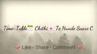 Time Table Punjabi Love Song Whatsapp Status Video