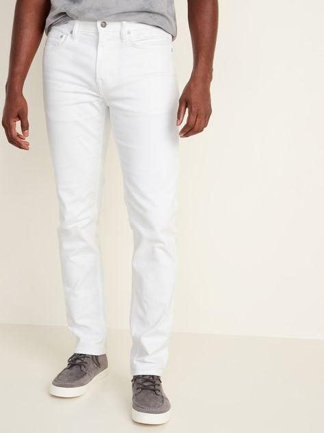 Slim Built-In Flex White Jeans For Men